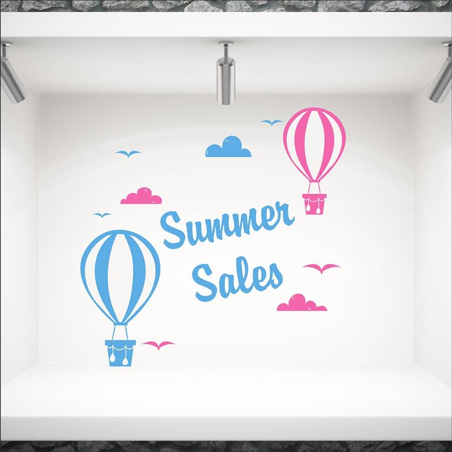 Αυτοκόλλητο βιτρίνας Summer Sales με αερόστατα