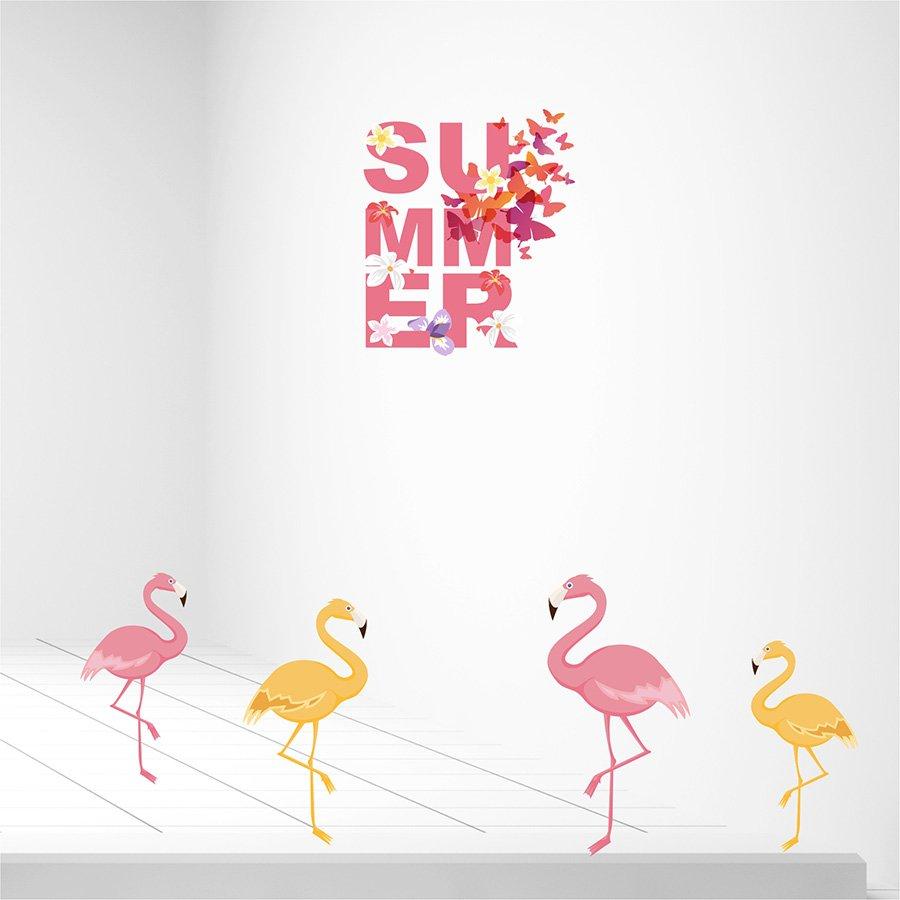 Αυτοκόλλητα καλοκαιρινής βιτρίνας Flamingos