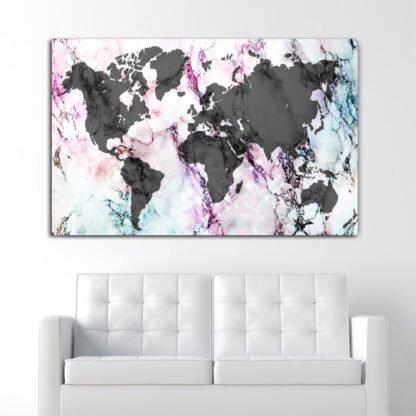 Πίνακας σε καμβά Rainbow Marble World Map