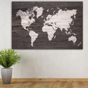 Πίνακας σε καμβά Wooden World map