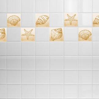 Σετ 8 τεμ αυτοκόλλητα πλακάκια με κοχύλια beige-brown