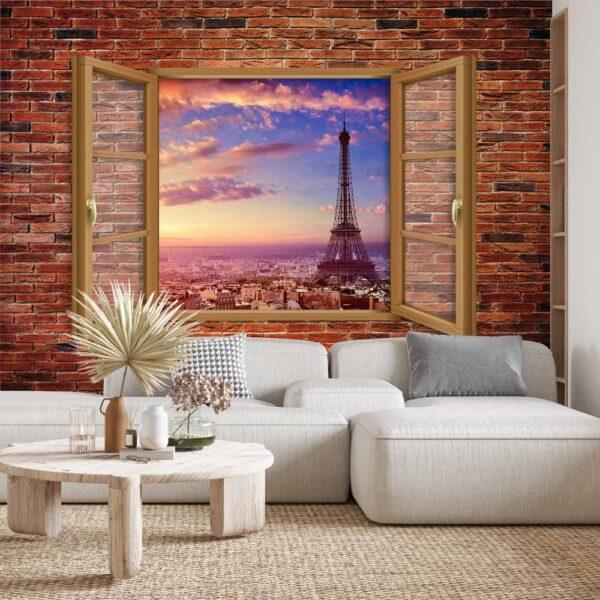 Φωτοταπετσαρία τοίχου παράθυρο με θέα τον πύργο του Άιφελ