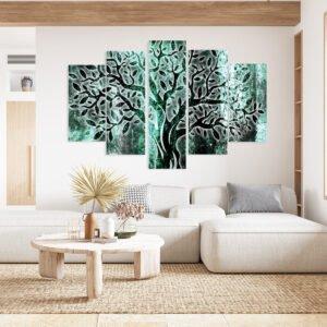Πεντάπτυχος πίνακας σε καμβά Abstract shine olive tree turquise