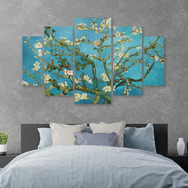 Πεντάπτυχος Almond Blossom Van Gogh αντίγραφο πίνακας σε καμβά