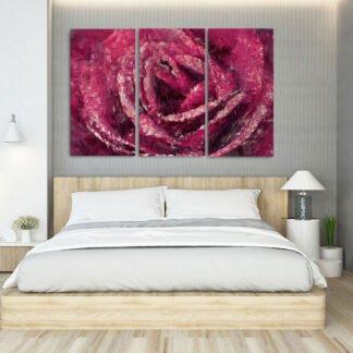 Τρίπτυχος πίνακας Artistic Rose