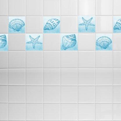 Σετ 8 τεμ αυτοκόλλητα πλακάκια με κοχύλια light blue