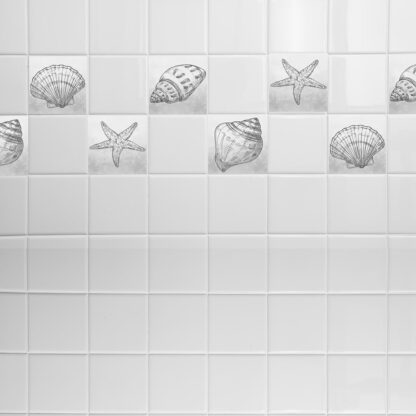 Σετ 8 τεμ αυτοκόλλητα πλακάκια με κοχύλια Grey