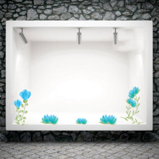Αυτοκόλλητο βιτρίνας Blue Flowers