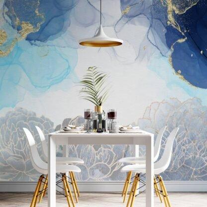 Φωτοταπετσαρία τοίχου Blue & Gold