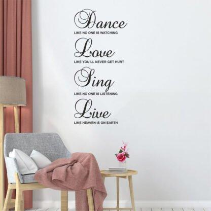 Αυτοκόλλητο τοίχου Dance - Love - Sing - Live