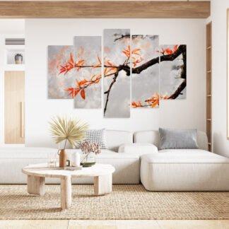 Πεντάπτυχος πίνακας σε καμβά Exotic Branch