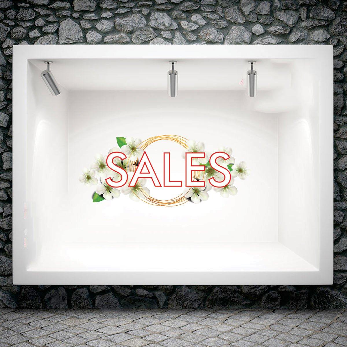 Αυτοκόλλητο βιτρίνας floral sales