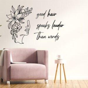 Αυτοκόλλητο τοίχου good hair speaks louder
