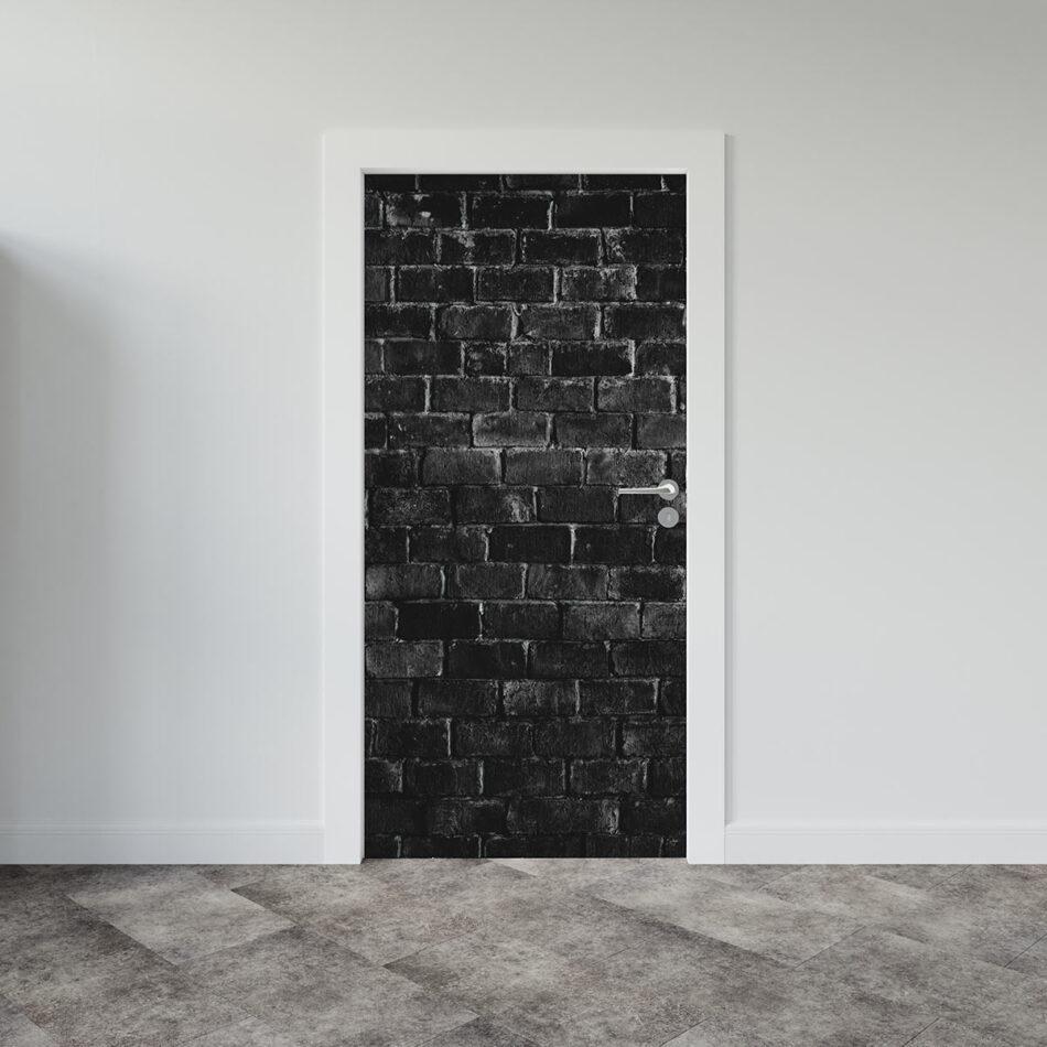 Αυτοκόλλητο πόρτας grey black brick wall