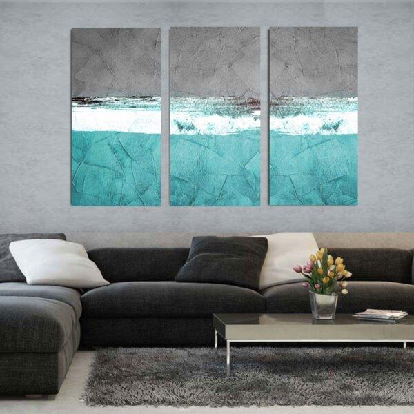 Τρίπτυχος πίνακας σε καμβά Grey Paint Abstract turquise