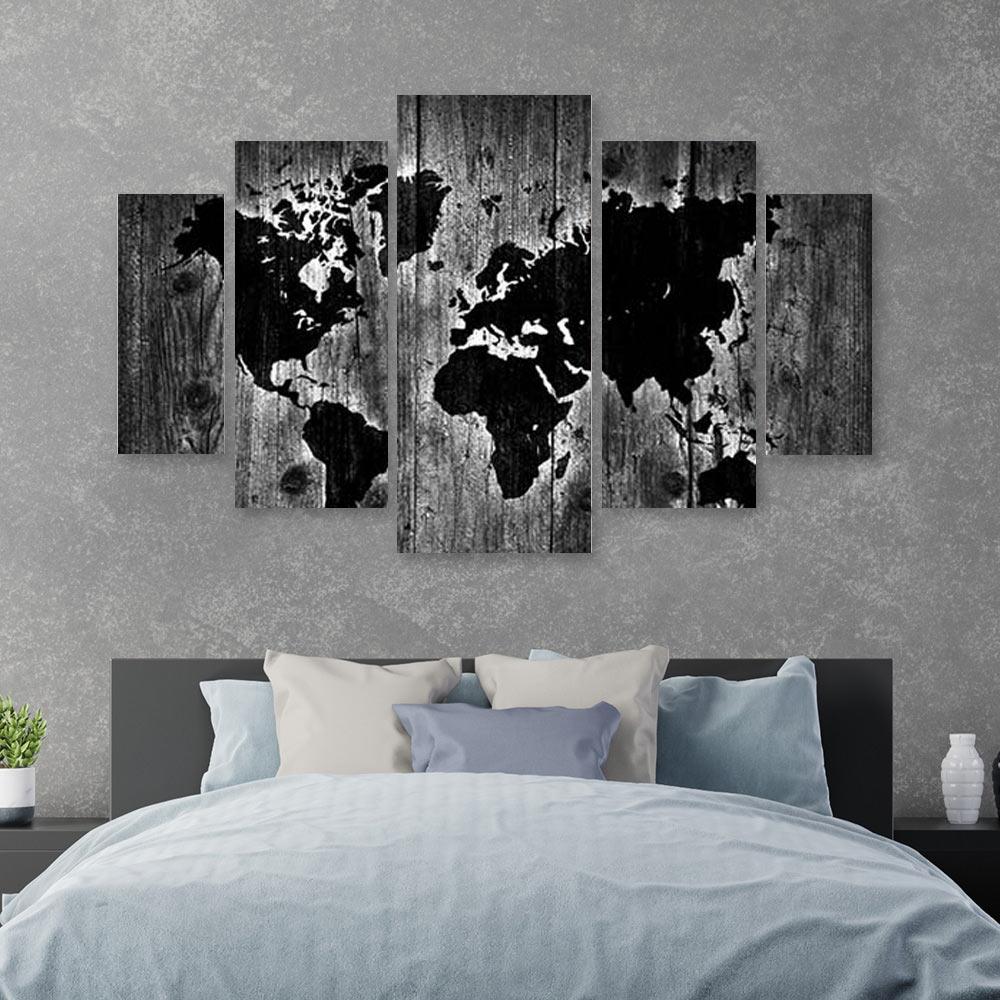 Grey wood world map πενταπτυχος πινακας σε καμβά