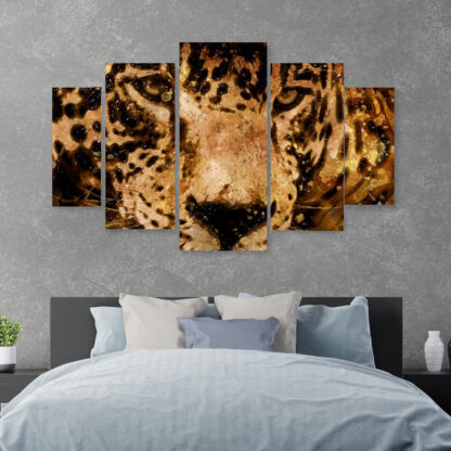 Jaguar πενταπτυχος πινακας σε καμβά