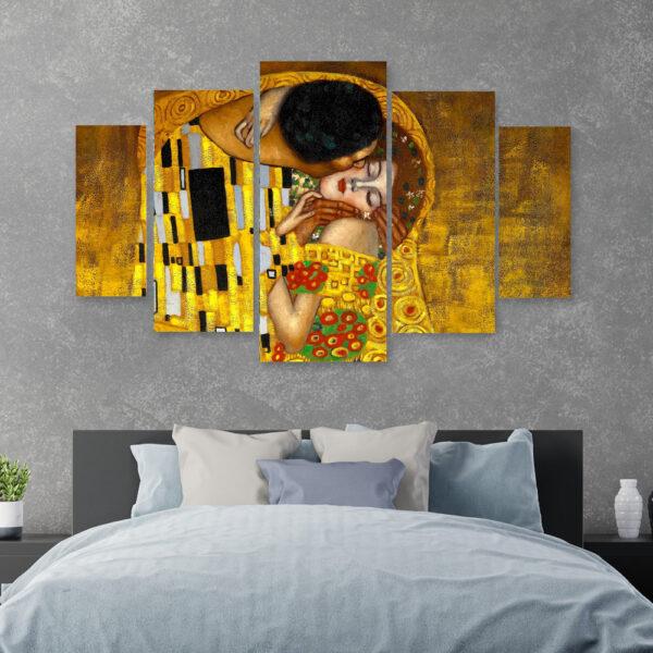 Klimt The kiss Πεντάπτυχος πίνακας σε καμβα