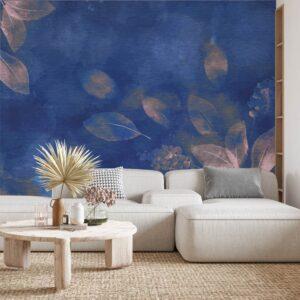 Φωτοταπετσαρία τοίχου Pink leaves on blue