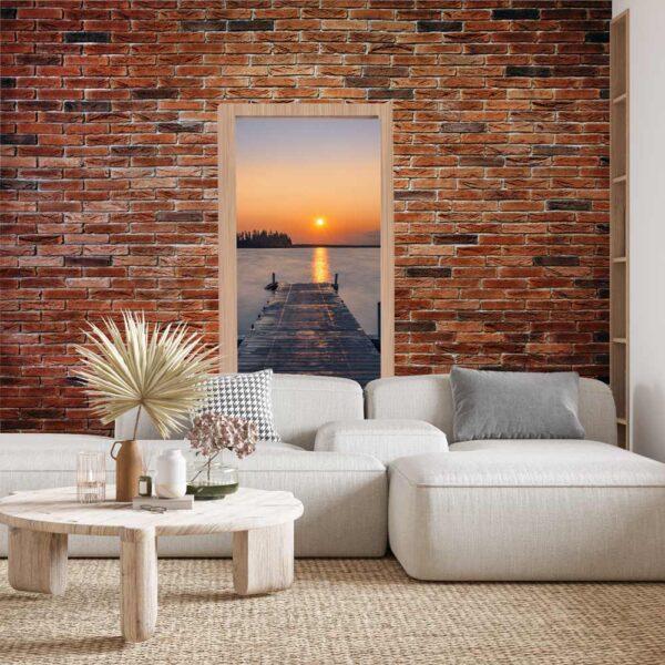 Φωτοταπετσαρία τοίχου πόρτα με θέα τη θάλασσα