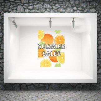 Αυτοκόλλητο βιτρίνας Orange Summer Sales
