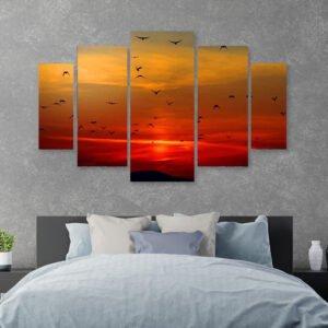 Πουλιά στο ηλιοβασίλεμα πενταπτυχος πινακας σε καμβά