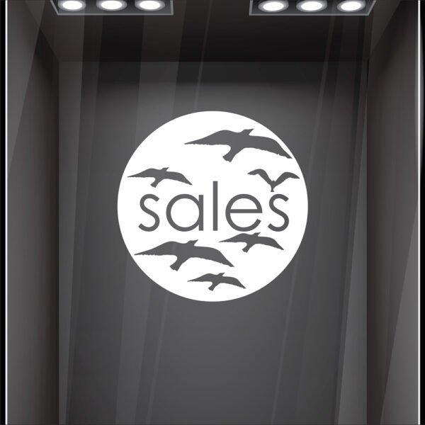 Αυτοκόλλητο βιτρίνας κύκλος sales με πουλιά