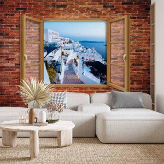 Φωτοταπετσαρία τοίχου παράθυρο με θέα την Σαντορίνη