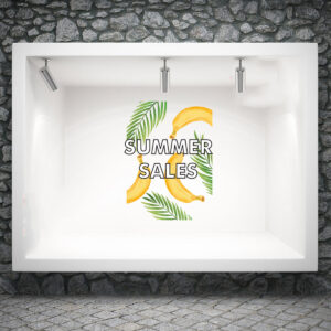 Αυτοκόλλητο βιτρίνας Banana Summer Sales