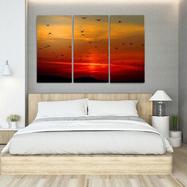 Τρίπτυχος πίνακας σε καμβά πουλιά στο ηλιοβασίλεμα