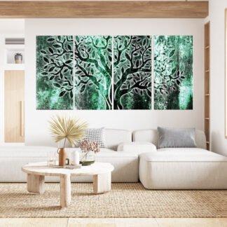 Τετράπτυχος πίνακας σε καμβά turquise shine olive tree
