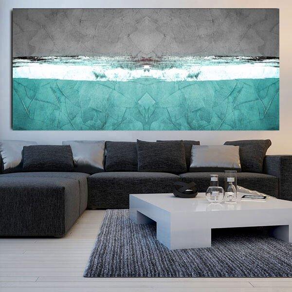 Πανοραμικός πίνακας σε καμβά Turquise Paint Abstract