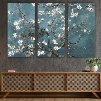 Τρίπτυχος πίνακας σε καμβά Blossom in the sun