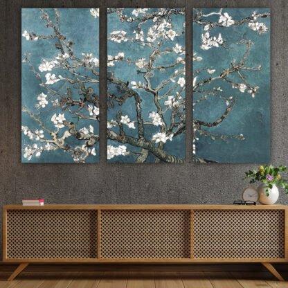Τρίπτυχος πίνακας σε καμβά Almond Blossom Special Edition