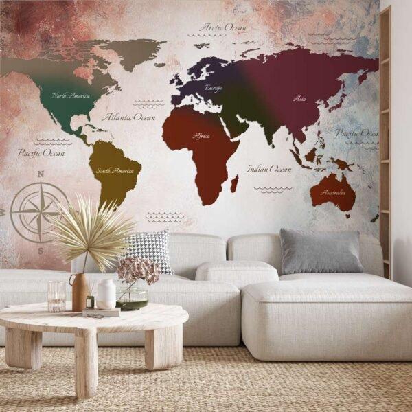Φωτοταπετσαρία τοίχου Vintage World Map