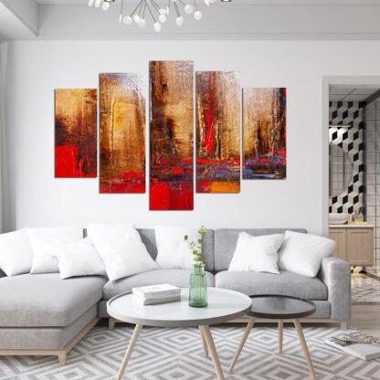 Πεντάπτυχος πίνακας σε καμβά Volcano Abstract