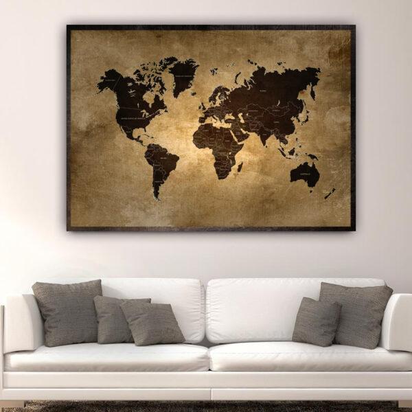 World Map X πίνακας σε καμβά