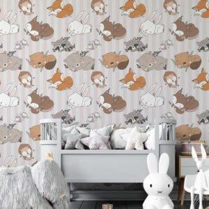 Ταπετσαρια τοίχου ζωάκια που κοιμούνται