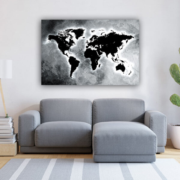 Grey Abstract World Map πίνακας σε καμβά