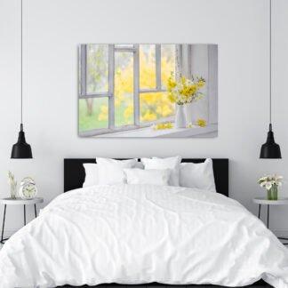 Πίνακας σε καμβά Looking at the window Yellow