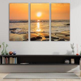 Τρίπτυχος πίνακας Beach Sunset