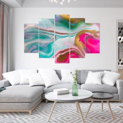 Πεντάπτυχος πίνακας σε καμβά Modern marble