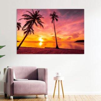 Πίνακας σε καμβά Palm sunset