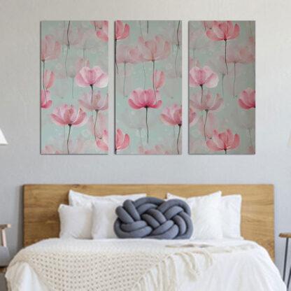 Τρίπτυχος πίνακας Pink Floral