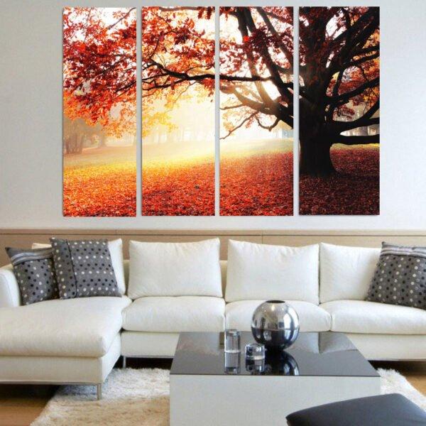 Τετράπτυχος πίνακας σε καμβά Autumn Forest