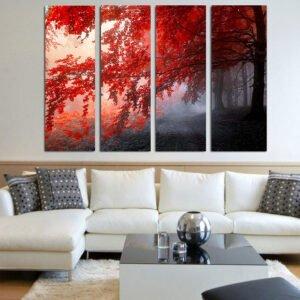 Τετράπτυχος πίνακας σε καμβά Red Forest