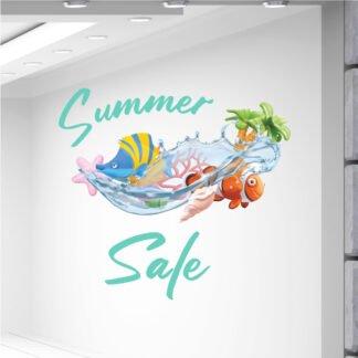 Αυτοκόλλητα καλοκαιρινής βιτρίνας Tropical Summer Sale