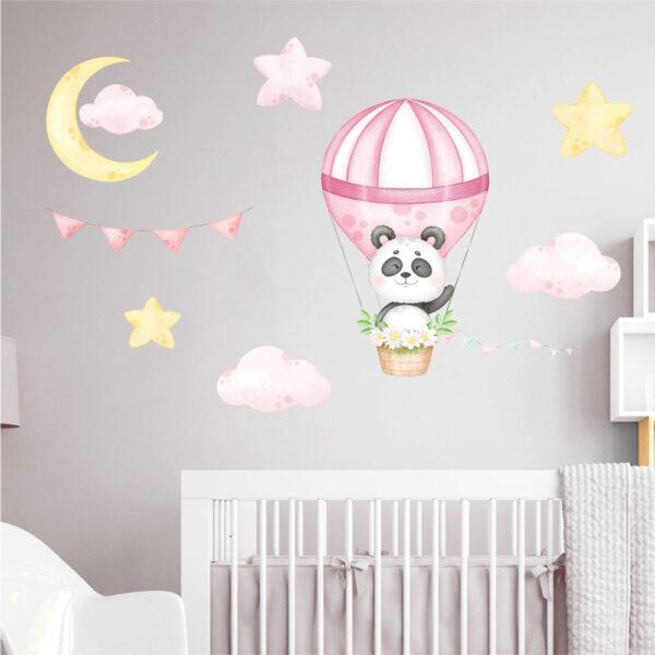 Αυτοκόλλητο τοίχου Panda σε αερόστατο ροζ
