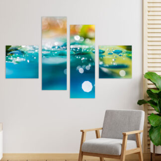 Τετράπτυχος πίνακας σε καμβά abstract water