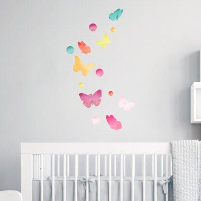 Αυτοκόλλητο τοίχου Watercolor butterflies